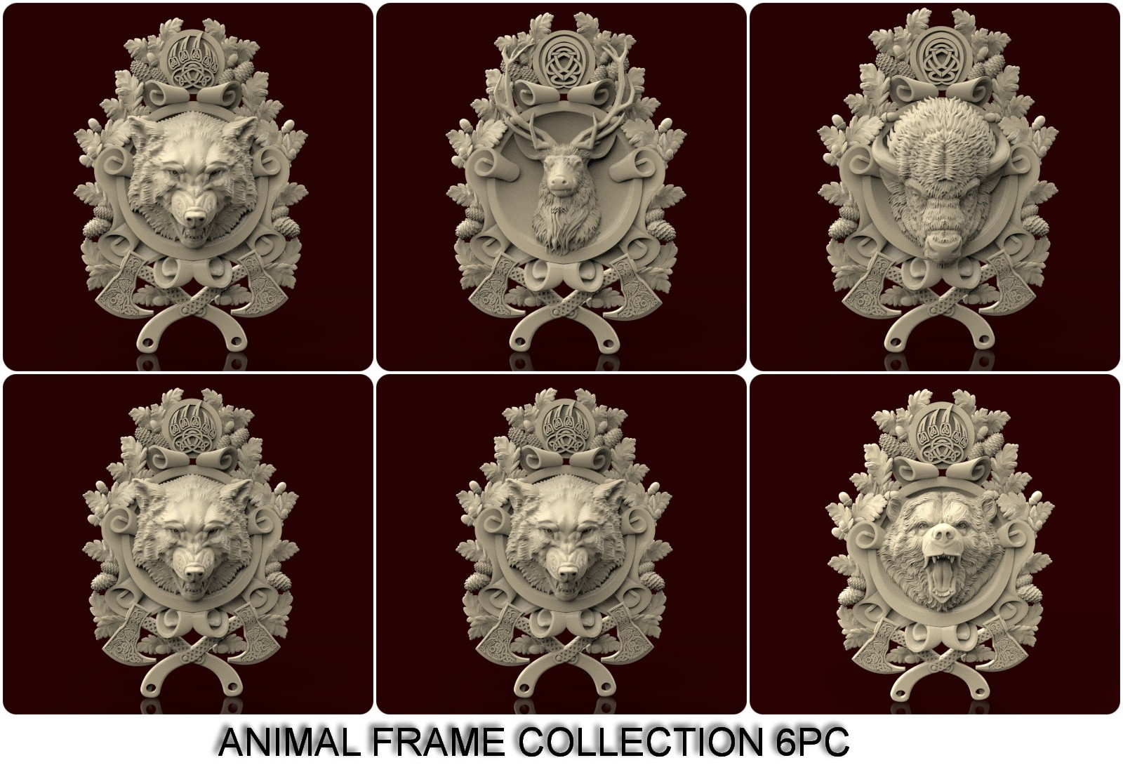 CNC G022 (Animal Frame Collection) 6pc 3D STL Model